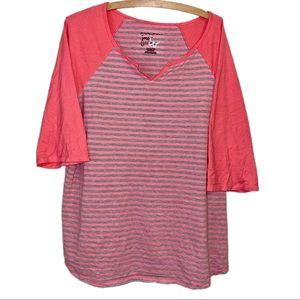 Just My Size Top Striped Pink and Gray Henley